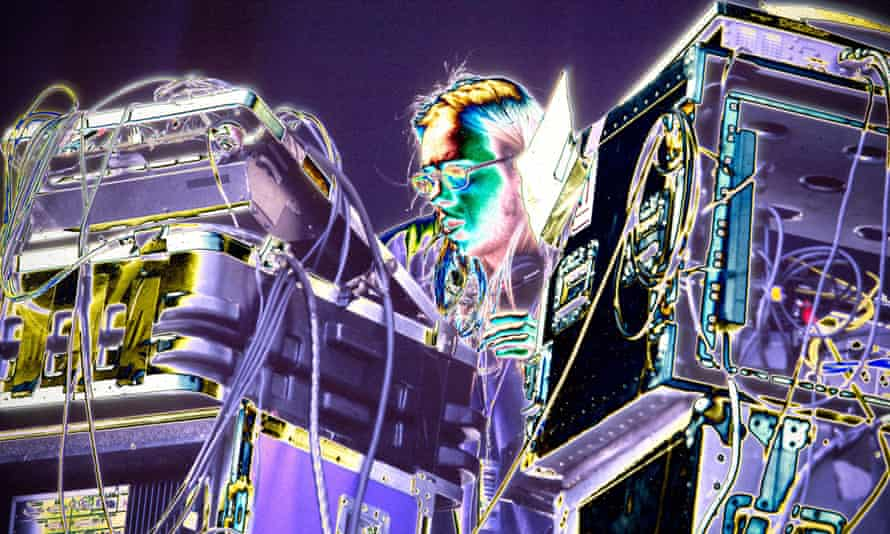 Tom Rowlands, of Chemical Brothers, performing live onstage.