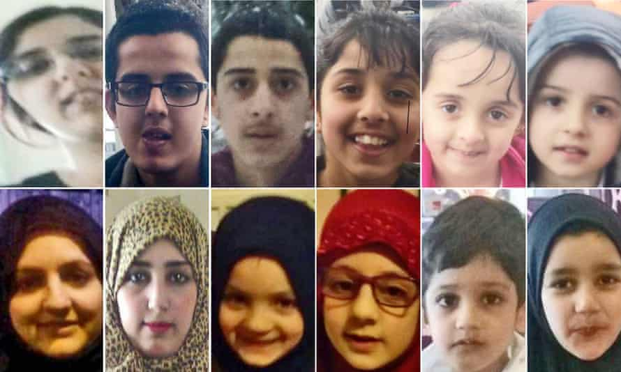 Composite showing 12 members of the Dawood family who travelled from Bradford to Saudi Arabia.