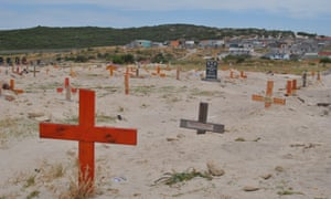 A sandy cemetery in Khayelitsha, Cape Town's largest township.