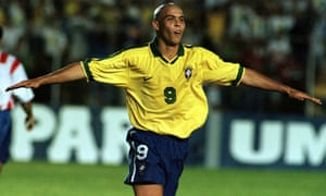 Ronaldo celebrates against Paraguay in 1997, a tournament Brazil won. Ronaldo scored in the final as the Brazilians beat Bolivia 3-1.
