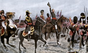 An image depicts the Duke of Wellington ordering the entire British line to advance at the Battle of Waterloo.