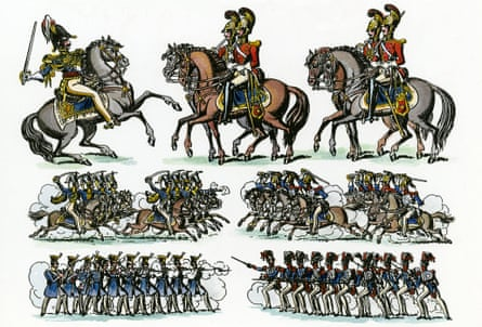 Prussians v French cavalry at The Battle of Waterloo. ('Music indicative of an approaching battle, and continued reports of cannon')