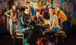 Sharon Rooney and other cast members on set as Rae.