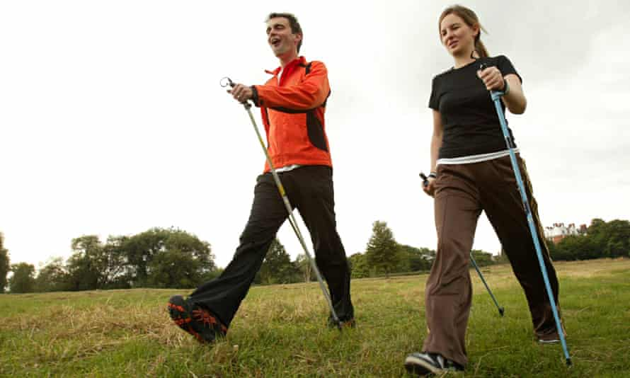 Best foot forward? Nordic walking on London's Hampstead Heath. Photograph: Graham Turner for the Gua