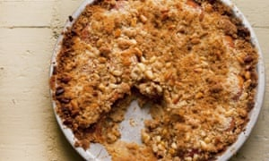 'A jug of double cream or a pot of crème fraîche might be in order here': apricot crumble tart.