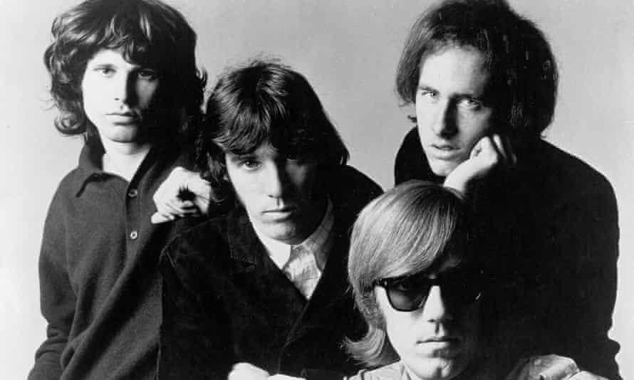 "Rock group ""The Doors"" pose for a promotional photos circa 1966.  Left to right - Jim Morrison, John Densmore, Ray Manzarek, Robby Krieger."