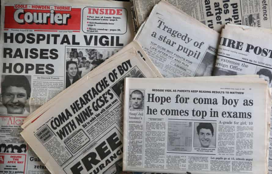 Newspaper pages showing reports of the accident in which Matty Mintern was injured