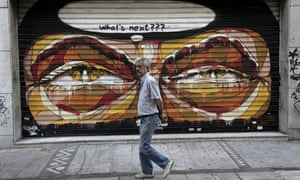 Grafitti on closed shops in Athens