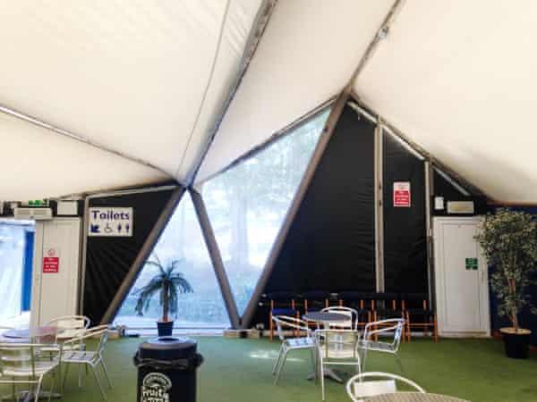 An interior detail of Zaha Hadid's Serpentine Pavilion at Flambard's theme park near Helston, Cornwall