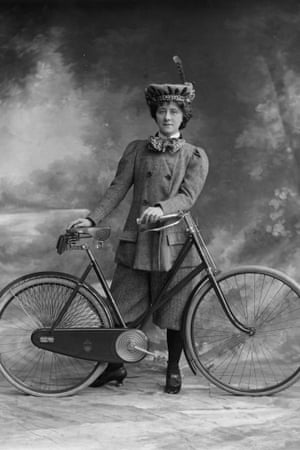 Victorian woman and a bike