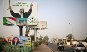 An election campaign banner in support of the Sudanese president, Omar al-Bashir, in Omdurman, Sudan. Bashir is wanted on war crimes charges in The Hague.