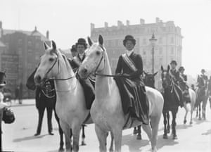 Mounted Suffragettes taking part in a procession to promote the Women's exhibition, May 1909