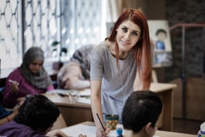 Hala Abu Said at her art therapy classes for Syrian children