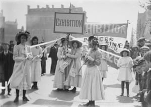 Young Suffragettes advertising the Women   s exhibition, 8 May 1909