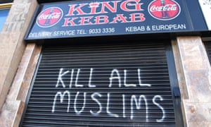 Graffiti in Belfast. Most of the incidents recorded in the study took place online but most of the physical attacks were against women, especially those wearing distinctively Muslim clothing.
