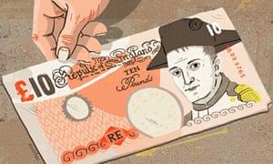 Napoleon on £10 note illustration by Eva Bee