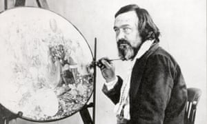 Henry Hering, Portrait photograph of Richard Dadd painting Contradiction (c.1875)