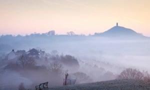 Glastonbury Tor at dawn.