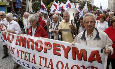 Greek pensioners protest against pension cuts and healthcare access in Thessaloniki.