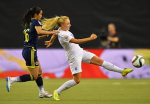 Alex Greenwood attempts to bring the ball under control despite the attention of Lady Andrade.
