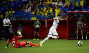 Colombia goalkeeper Sandra Sepulveda  fouls England forward Jodie Taylor and earns herself a yellow card.
