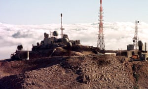 The Israeli early warning station on Mount Hermon, above the cloud line on the Golan Heights.