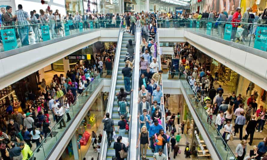 Shoppers converge in their tens of thousands on the Westfield Shopping Centre in East London's Stratford.