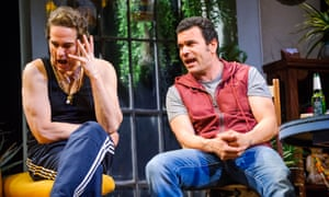 Yul Vázquez as Julio and Ricardo Chavira as returning jailbird Jackie in The Motherfucker with the Hat at the National, by Stephen Adly Guirgis.