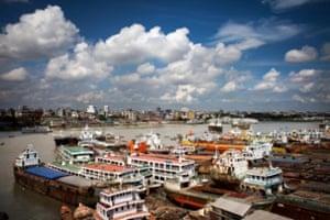 A colourful shipyard in Dhaka, Bangladesh