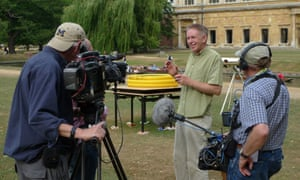Dr Hunt filming in Cambridge. Public engagement through TV shows and speaking to schools is just as vital as journal articles and research.