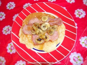 Charlene F's take on Elvis's favourite peanut-utter, banana and bacon sandwich, but on a pancake.