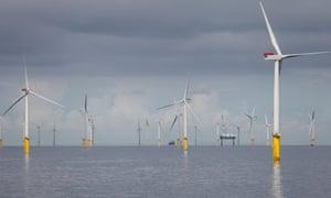 A windfarm off the coast of North Wales.