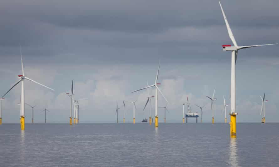 A windfarm off the coast of North Wales.