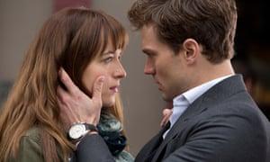 Jamie Dornan and Dakota Johnson in the film adaptation of Fifty Shades of Grey.