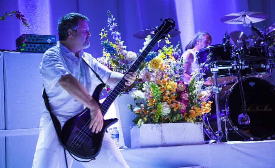 Billy Gould (bass) and Mike Bordin (drums) of Faith No More perform on stage at the Roundhouse, London.