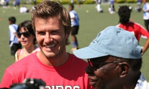 David Beckham and Jack Warner speak to the media at the launch of the David Beckham Academy at Marvin Lee Stadium in Macoya in September 2010.