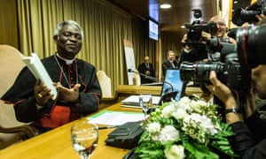 """Cardinal Peter Kodwo Appiah Turkson during the official Presentation of Pope Francis Encyclical letter """"Laudato Si' on care for our common home, 18 June 2015, Rome, Italy."""