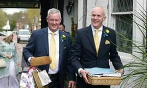 Canon Jeremy Pemberton (left) with Laurence Cunnington after their marriage in 2014.