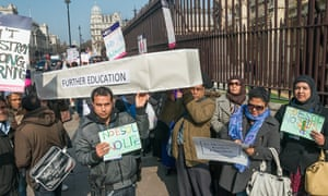 Protests against cuts to adult education budget