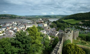 Conwy, Conwy County Borough, Wales, UK --- UK, Wales, Conwy, View from historical city wall to old town and castle