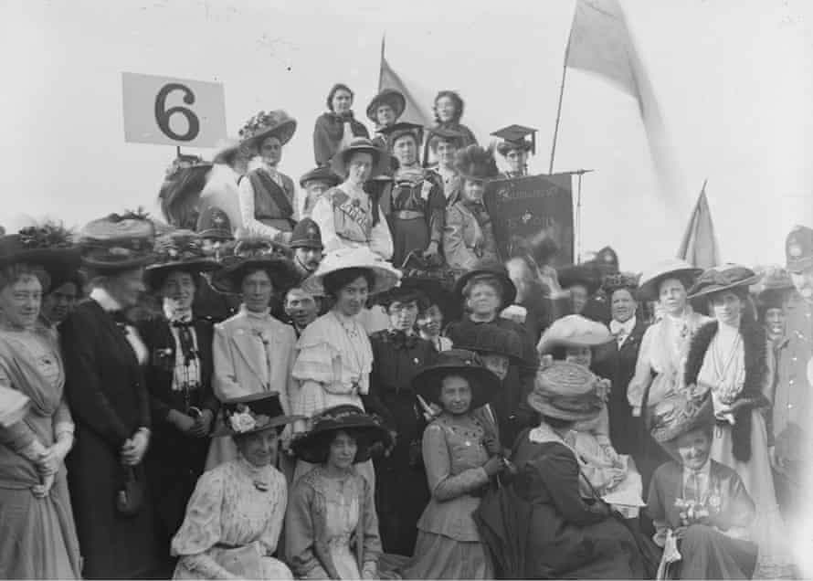 Suffragettes in fancy hats and mortar boards in Hyde Park, London, June 1908