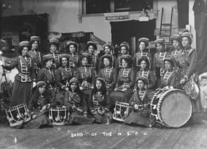 The Drum & Fife Band of the Women's Social and Political Union at the Women's Exhibition, May 1909