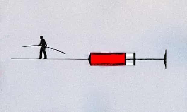 Man walking tightrope on syringe needle