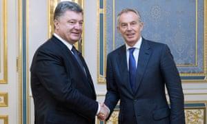Ukrainian president Petro Poroshenko with Tony Blair in Kiev.