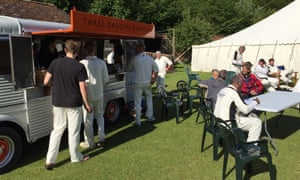Village cricketers celebrate a victory at The Three Daggers' beer bus