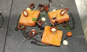 Hop-cured salmon, crispy pickled shallot rings and lemon cream cheese at The Kitchen Project