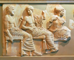 A section of the east frieze of the Parthenon showing Poseidon, Apollo and Artemis.