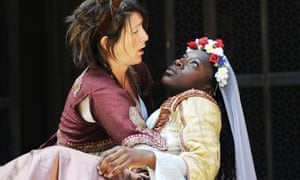 Eve Best as Beatrice and Ony Uhiara as Hero in Much Ado About Nothing at Shakespeare's Globe in 2011.
