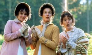 Victoria Hamilton, Emma Roberts and Sophie Thompson as the Musgrove sisters in Persuasion.