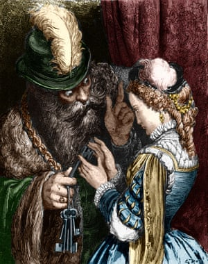An illustration from the fairy tale Bluebeard by Charles Perrault.